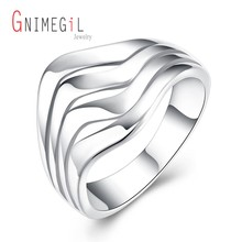 GNIMEGIL Wholesale Silver Color Fashion Female Jewelry Geometric Wavy Rings for Women Men Party anillos mujer