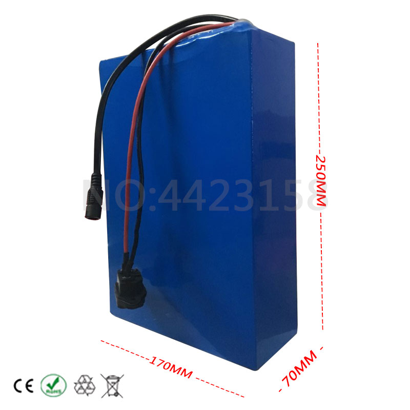 Discount Big Capacity 48 Volt Batteries 48V 20Ah Li-ion Battery for Electric Bike with PVC case Built in 13S 30A BMS + 2A CC/CV Charger 3