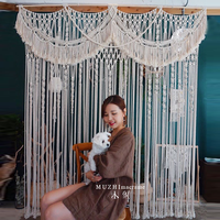 160cm*160cm Macrame Hand woven Tapestry Outdoor Lawn Retro Sen Wedding Background Curtain Curtain Partition Curtain