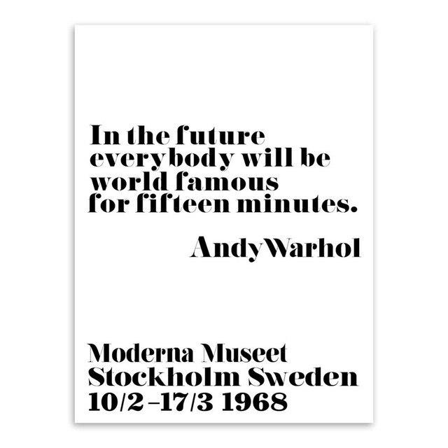 товар Black White Minimalist Inspirational Andy Warhol Quotes