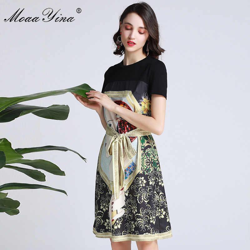 MoaaYina, модное дизайнерское подиумное платье, весна-лето, женское платье с коротким рукавом, красивые платья на шнуровке с цветочным принтом