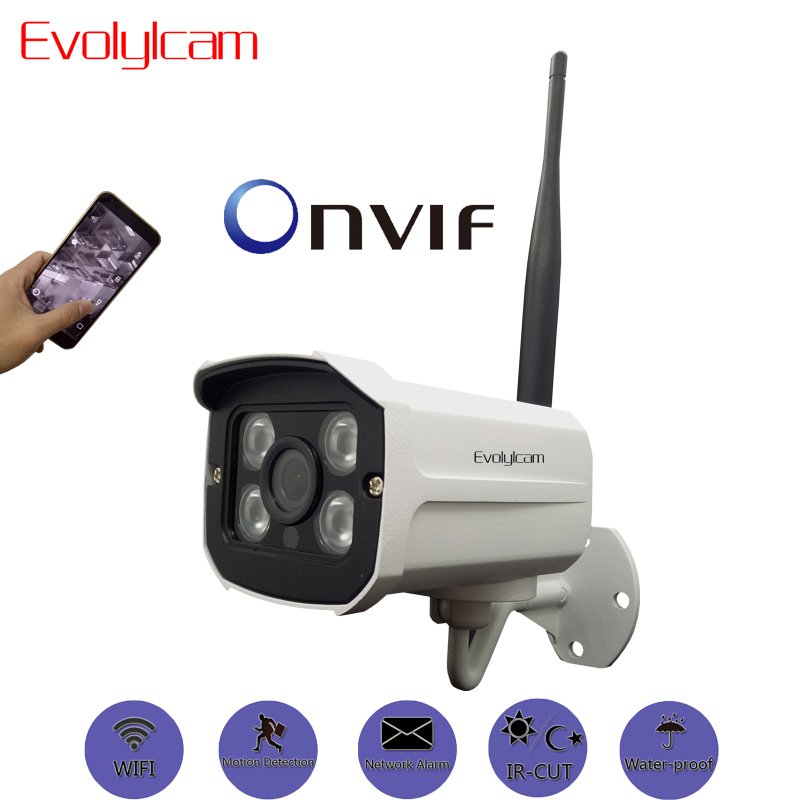 Evolylcam HD 1MP 720P Wireless IP Camera Wifi Network Alarm Onvif P2P CCTV Security IR-Cut Night Vision Bullet Cam Surveillance outdoor 720p ip camera hd wireless wifi array ir night vision bullet onvif waterproof cctv security ip 1mp network web camera