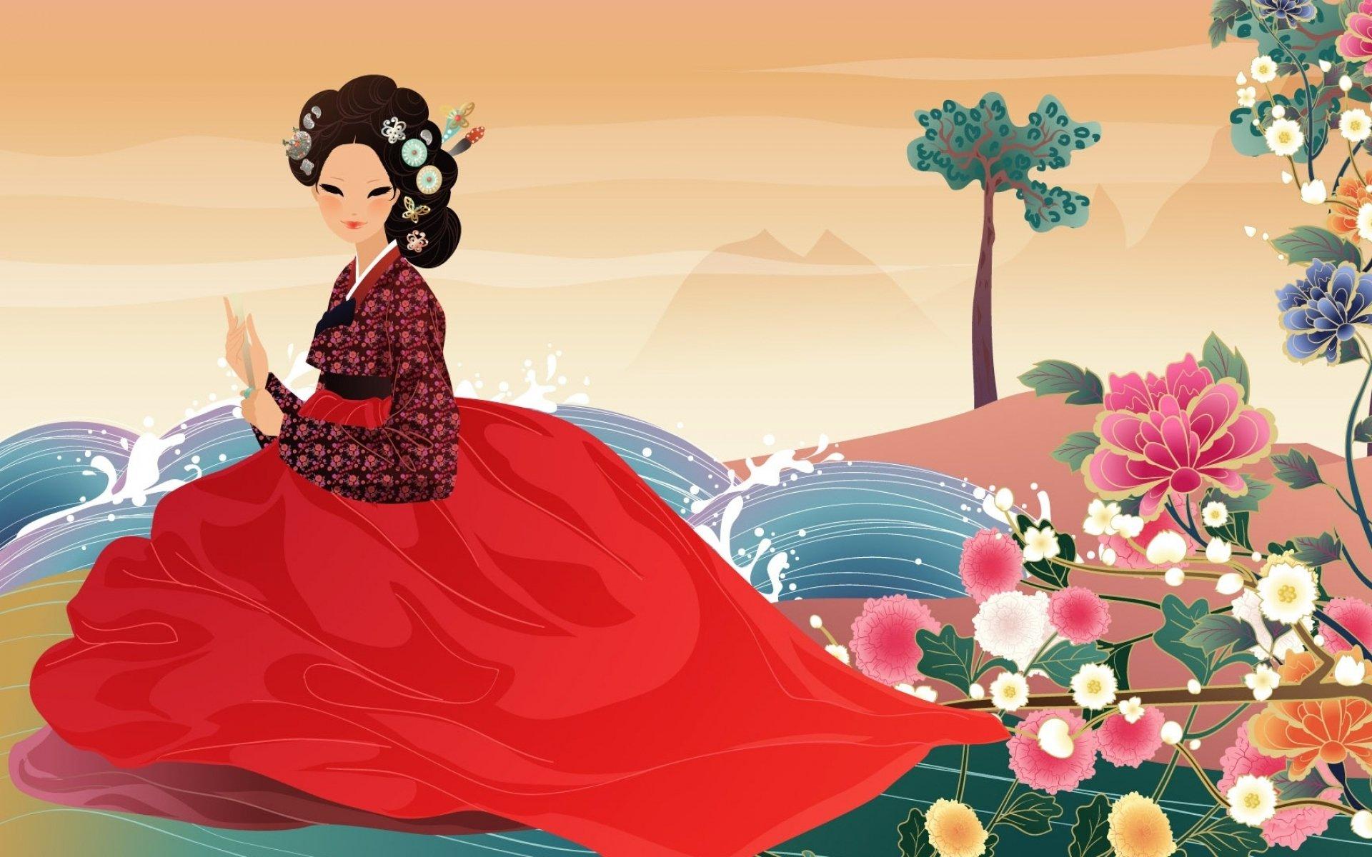 Living room <font><b>home</b></font> wall <font><b>decoration</b></font> fabric poster artistic art artwork women female girls girl woman <font><b>asian</b></font> korean oriental river