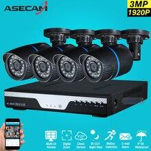 New 4ch HD 1920p Surveillance Kit CCTV DVR H.264 Video Recorder AHD indoor Black Bullet 3mp Security Camera System Email Alarm