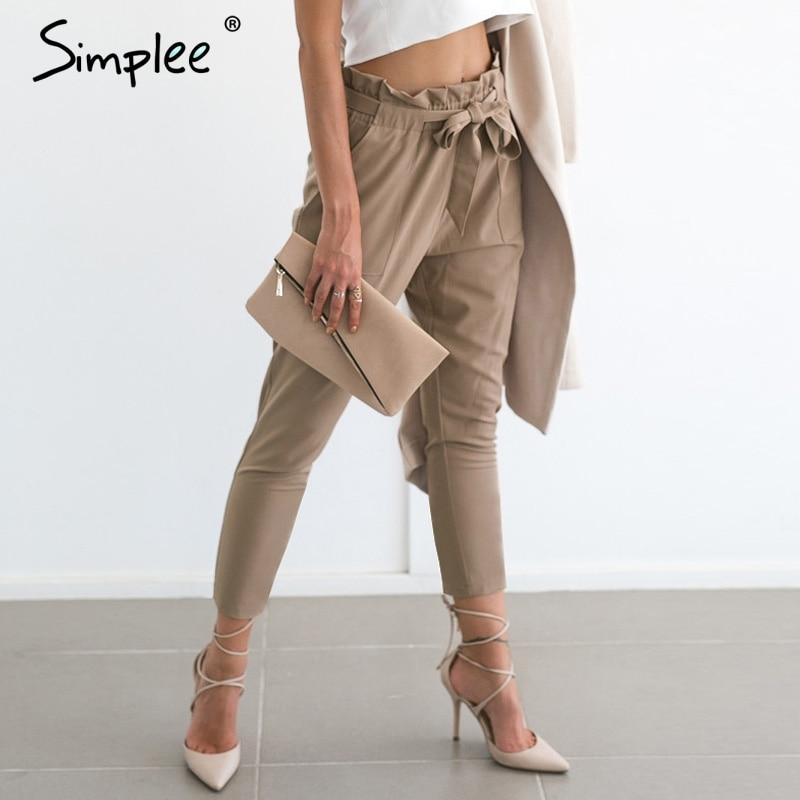 Simplee Chiffon khaki harem hosen büro dame sommer casual hosen weibliche Streetwear schärpe schwarz elastische hohe taille hosen