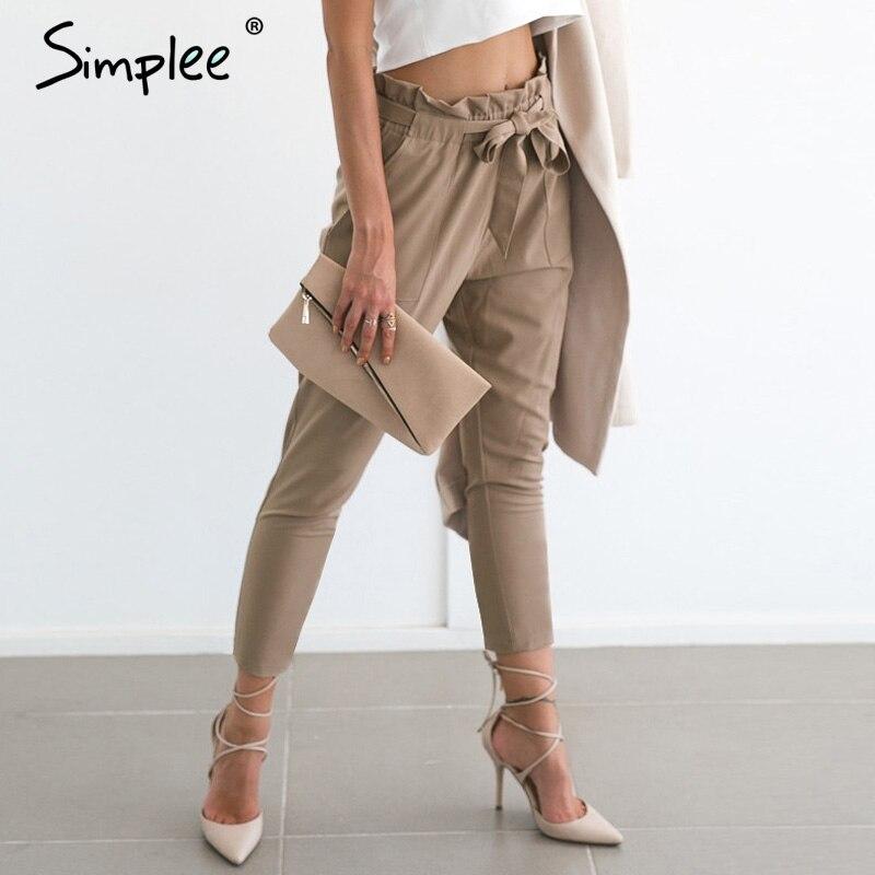 Simplee Chiffon Khaki Harem Pants Office Lady Summer Casual Pants Female Streetwear Sash Black Elastic High Waist Pants
