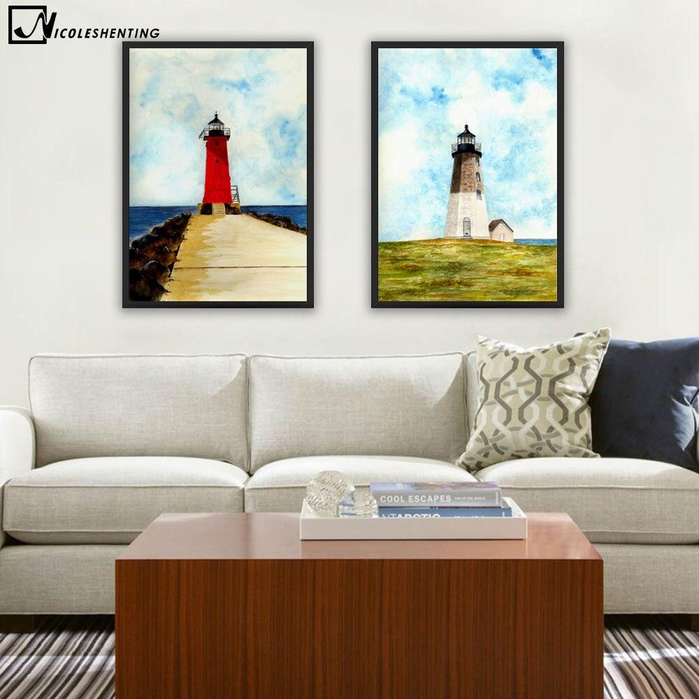 NICOLESHENTING Farol Minimalista Poster Da Arte Da Lona Pintura De Paisagem  Impressão Moderna Do Retrato Da Parede Quarto Decoração De Casa Em Pintura  ... Part 94