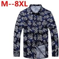 10XL 8XL 6XL Spring Floral Print Men Shirts Long Sleeve Mens Casual Shirt Slim Men Flower