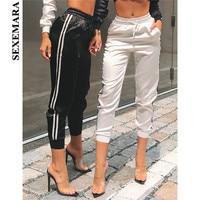 BOOFEENAA Side Stripe Satin Silk Sexy Sweat Pants Women Joggers Streetwear Fitness High Waist Casual Trousers Fashion 2019 C34AA