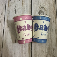 40pcs Baby Girl Disposable Party Tableware Paper Cups for Birthday Shower Children Decoration