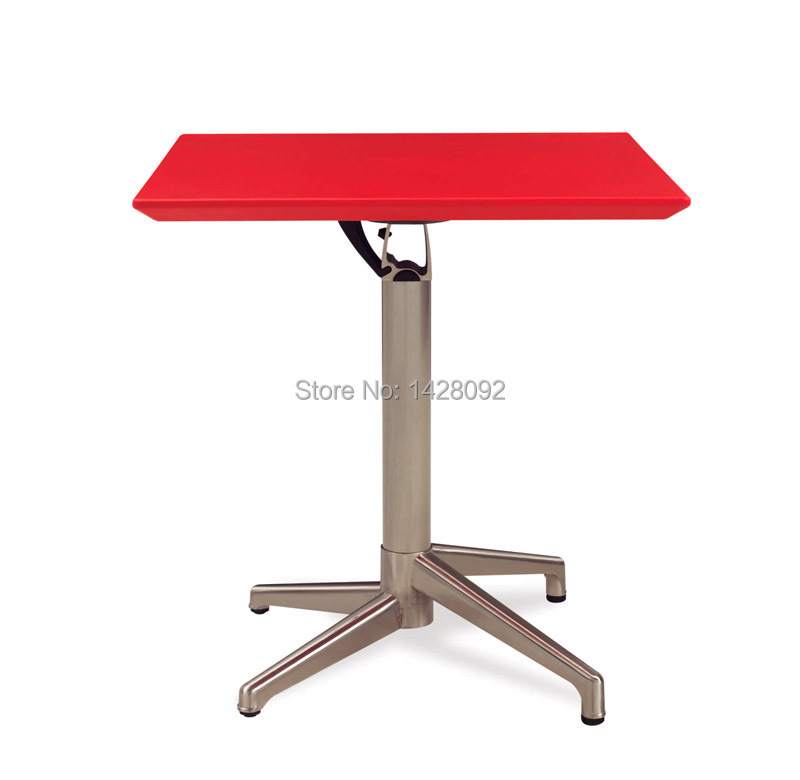 Fashion Modern Outdoor Square Folded ABS Top Brushed Aluminum Cocktail Table Bar Table LQ- C72
