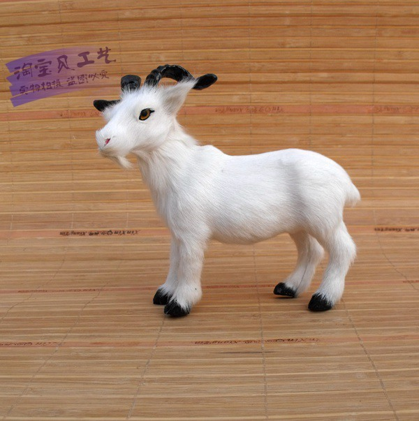 simulation white sheep toy real fur goat 19x9x16cm model ornament prop home decoration gift h1495