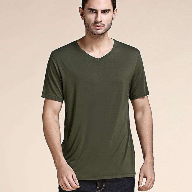 Мужская футболка с коротким рукавом из бамбукового волокна, удобная летняя футболка большого размера для мужчин 2020, свободная Черно белая серая футболка с v образным вырезом T16