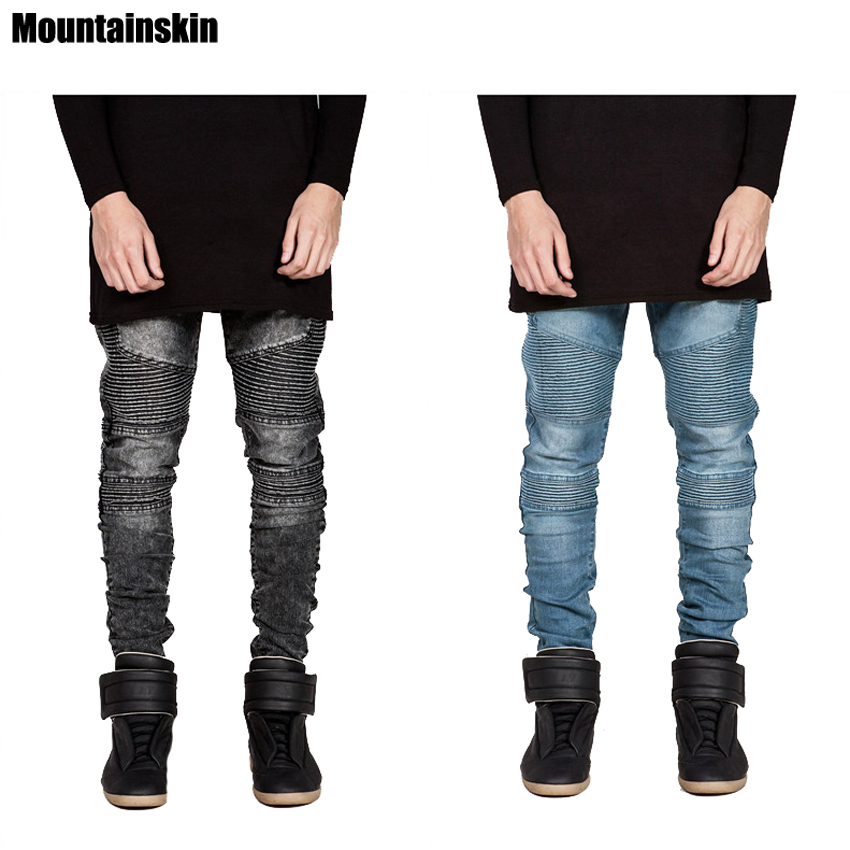 Mountainskin Men's Skinny Jeans Runway Distressed Slim Elastic Jeans Denim Biker Hiphop Jeans Washed Black Male Jeans,EDA434 mens skinny biker jeans runway distressed slim elastic jeans hiphop washed men a circle of zipper and side pleated black jeans