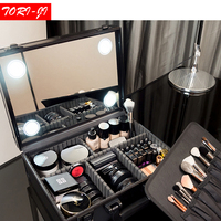 Tori ji New Adjustable LED lighted Makeup Box Beauty Case with Mirror Storage Travel Portable bag 3 colors M
