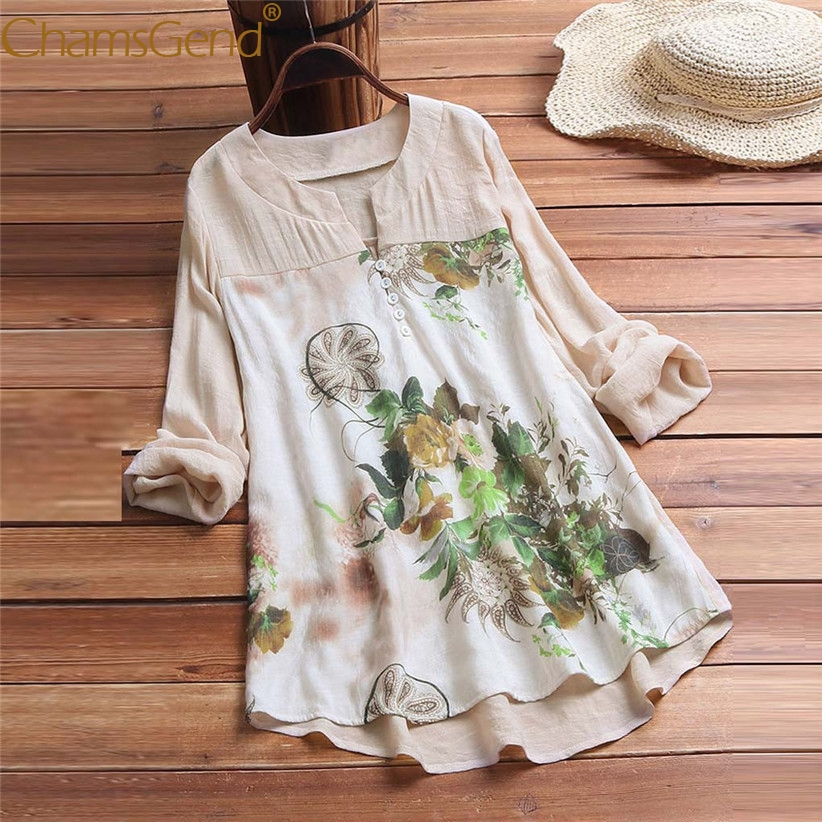 Pastoral Style Women Floral Leaf Printing V Neck Long Sleeve   Blouse     Shirts   Mother's Day Gift for Beloved Mom 3XL/4XL/5XL 90417