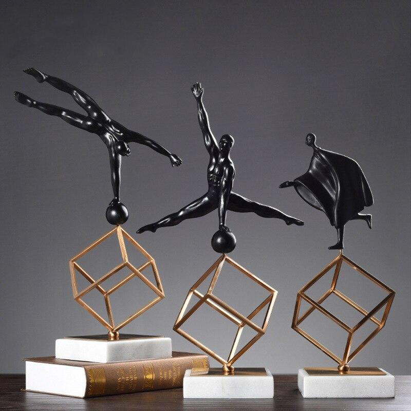 Skandynawskie biurko rzeźba Model gimnastyka sport postawy figurki wyświetlacz salon Decor żywica marmur Metal rękodzieła w Figurki i miniatury od Dom i ogród na  Grupa 1