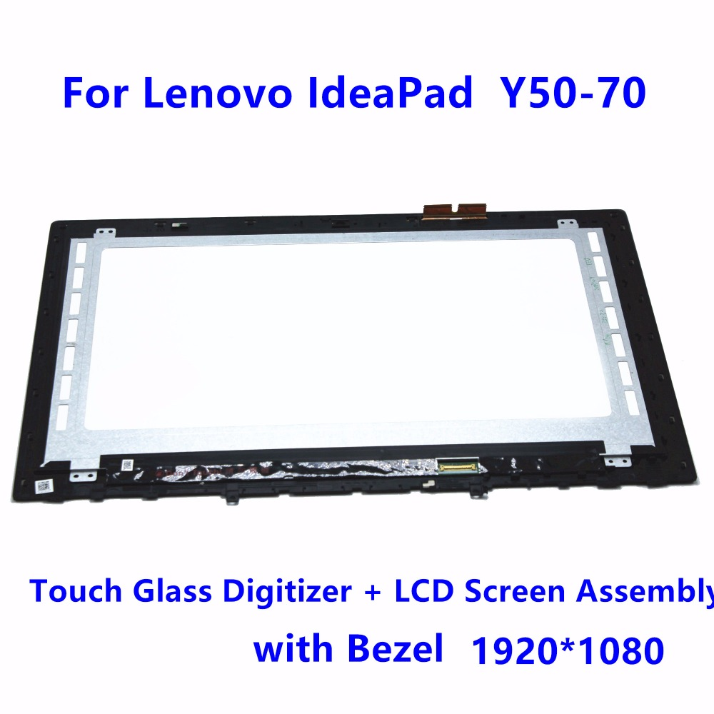 15.6 Touch Panel Glass Digitizer + LCD Screen Display Assembly with Bezel For Lenovo IdeaPad Y50-70 AP14R000D00 LTN156FL02-L01 white black original lcd for apple ipad mini 4 lcd display touch screen digitizer glass bezel complete assembly pantalla repair