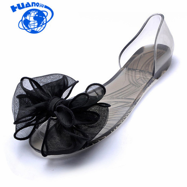 HUANQIU Sweet Bowknot Women Sandals Summer Jelly Shoes Woman Crystal Transparent Flats Casual Beach Ladies Shoes JDD29