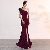 Sexy Red One Shoulder Ruffle Strap Slit Long Dress Elegant Gown Women Evening Party Night Club Wear Formal Dresses Maxi Vestidos