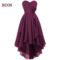 High Low Purple Country Bridesmaid Dresses for Wedding A Line Boho Wedding Party Guest Gowns Vestido Madrinha