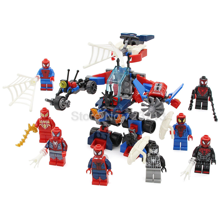8pcs/lot Spider Man Super Hero 8in1 SY630 Venom Scarlet Spider Figure Building Blocks Sets Models Bricks Toys for children super hero loz building blocks nano bricks diy spider man batman superman flash green lantern figure assembled toys gift for kid