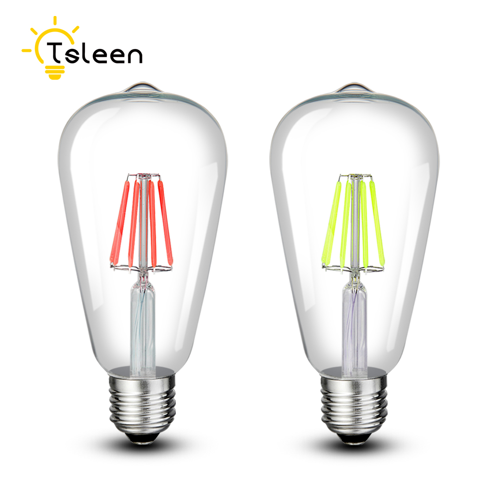TSLEEN Cheap!LED Filament Bulb 8W Colorful E27 Retro Edison Lamp 220V Vintage Energy Saving Light Globe Lighting COB Home Decor