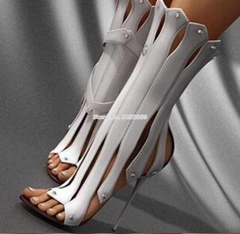 ALMUDENA Top Qulity White Black Vertical Strappy Studded Mid-calf Boots  Stiletto Heels Open Toe b7f6f1bc73be