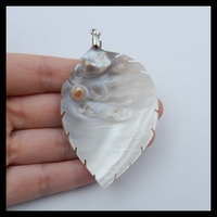 New Arrival Shell Carved Leaves Necklace Pendant 66x45x6mm 17.1g With 925 Silver Clasp