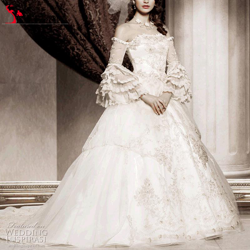 Popular victorian wedding gown buy cheap victorian wedding for Victorian lace wedding dress