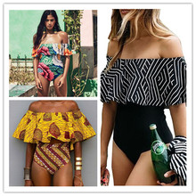Plus Size Swim Suit New Off The Shoulder Swimsuit One Piece Swimwear Women Padded Ruffle Swimming Suit Sexy Bathing Suits