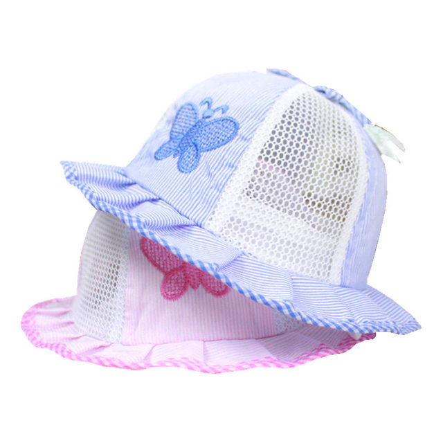 9c816d4f49b Summer Baby Girls Sun Hat Cotton Baby Hat Kids Child Cap Bowknot Stripe Bucket  Hat Mesh