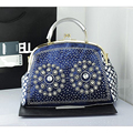 QIAN YI YUAN Female bag  Fashion Diamonds Denim Tote Women Women Shell Famous designer Famous designer The messenger bag