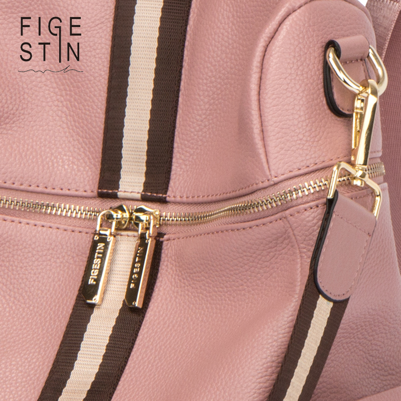 Figestin Backpack Female Genuine Leather Women Backpacks School Bag Pink Stripe Multifunctional Leather Back Pack On Shoulder #6