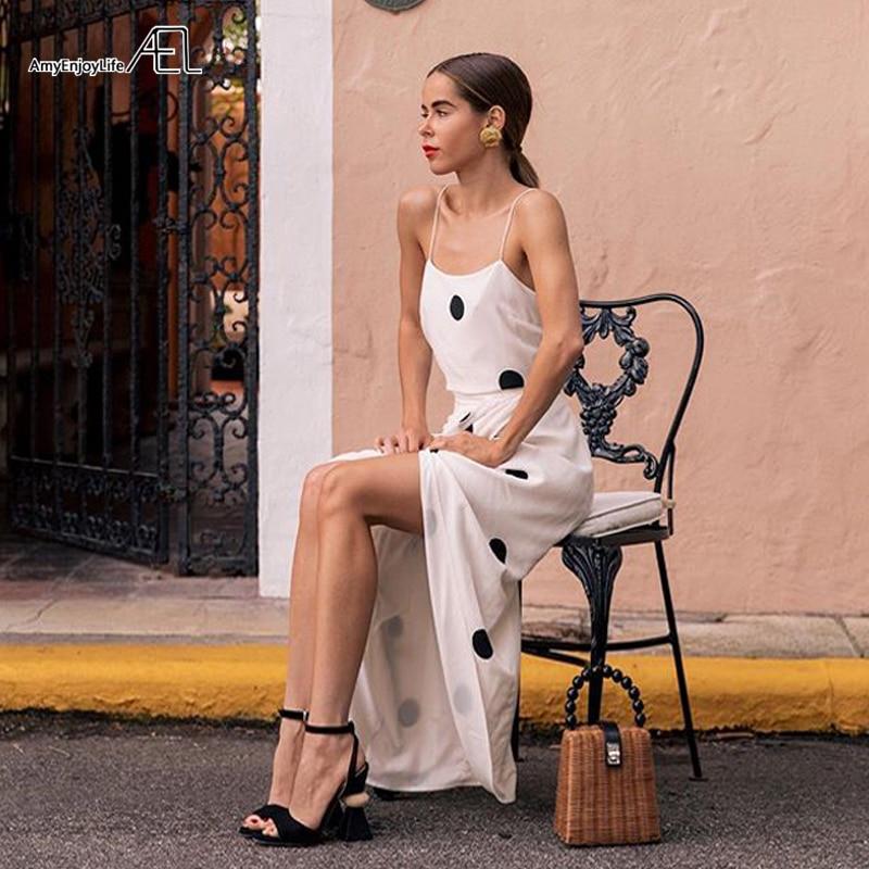 AEL Polka Dot Slip Dresses Elegant Woman Summer Beach Sexy Asymmetric Dress Front Slit Fashion 2019