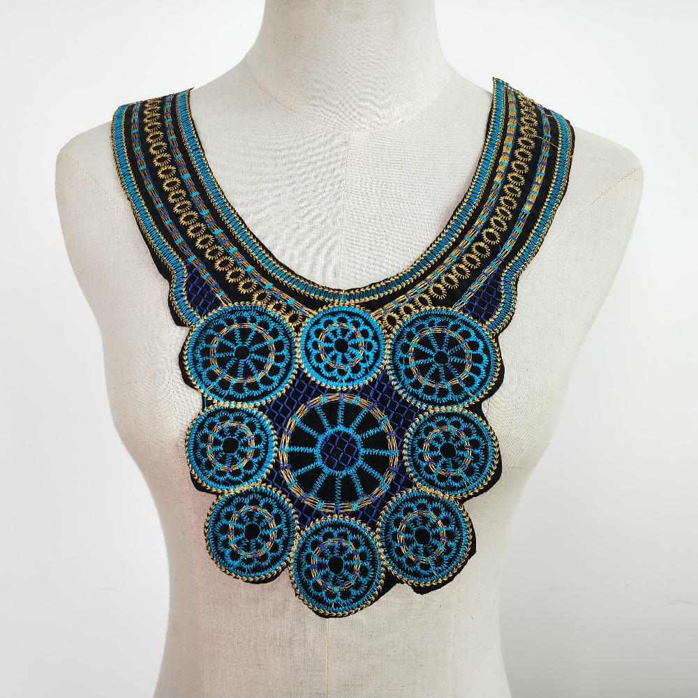 1 шт. вышитый кружевной воротник, Декор, сделай сам, швейная нашивка в этническом стиле, Кружевная аппликация, пришивка костюма, декольте, сва...
