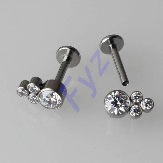 Inlay Zircon Earring 16g Internal Thread Labert Lip Percing with G23 Titanium Ear Tragus Cartilalges Stud  Body Jewelry