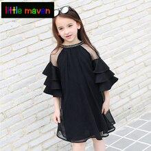 Summer Children Girls Dress Tiered Flare Sleeve Blingbling O-collar 2 layer Chiffon Dress for Teenager Graceful girl Kids Dress