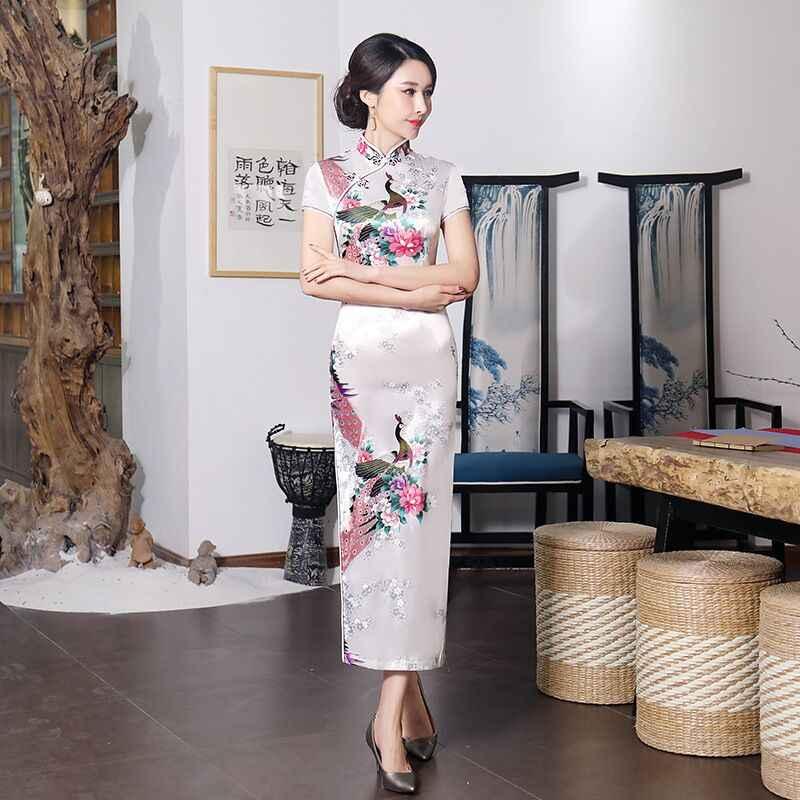 Moda verano largo Cheongsam Vestido de estilo chino mujeres Delgado Qipao nueva llegada Vestido tamaño S m L XL XXL XXXL 4xl 5xl 6xl J3038