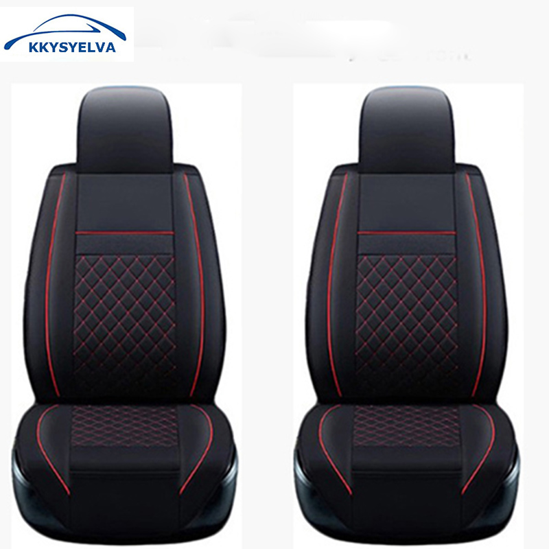 KKYSYELVA Universal Front Car Seat Cover Leather Auto driver seat cushion Covers Interior Accessories natural australian wool car seat cover winter warm fur seat cushion universal 1 piece front seat cover auto interior accessories