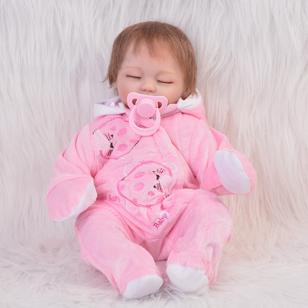 NPK Collection 18 Inch Sleeping Reborn Baby Doll Silicone Vinyl Cute Princess Girl Dolls Wearing Pink Clothes Kids Birthday Gift