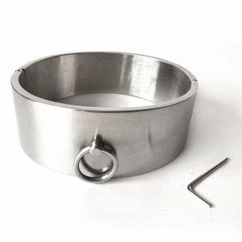 4cm High Stainless Steel Neck Bondage Collar Slave Restraints Torture Bdsm Collar Adult Games Sex Toys For Couples