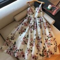 WRD06180 long dress Women elegant party 2018 summer sexy spaghetti strap dress floral print dress