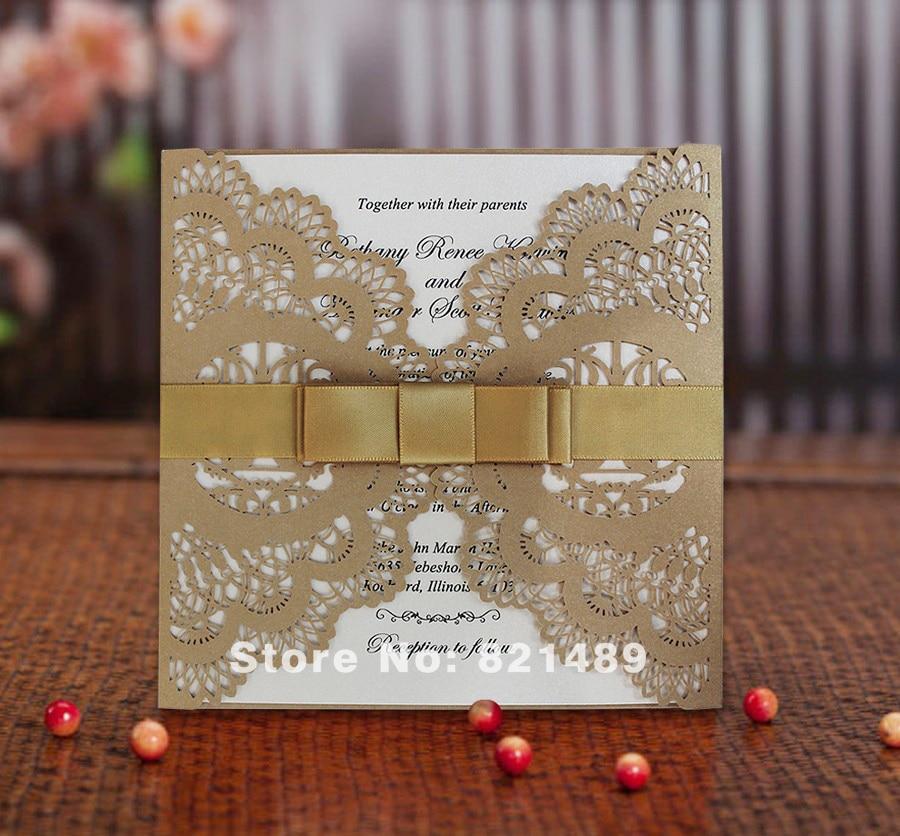 Gold Hochzeitseinladung, Ribbon Bow Lace Einladungskarte - Set von 50 - Partyartikel und Dekoration