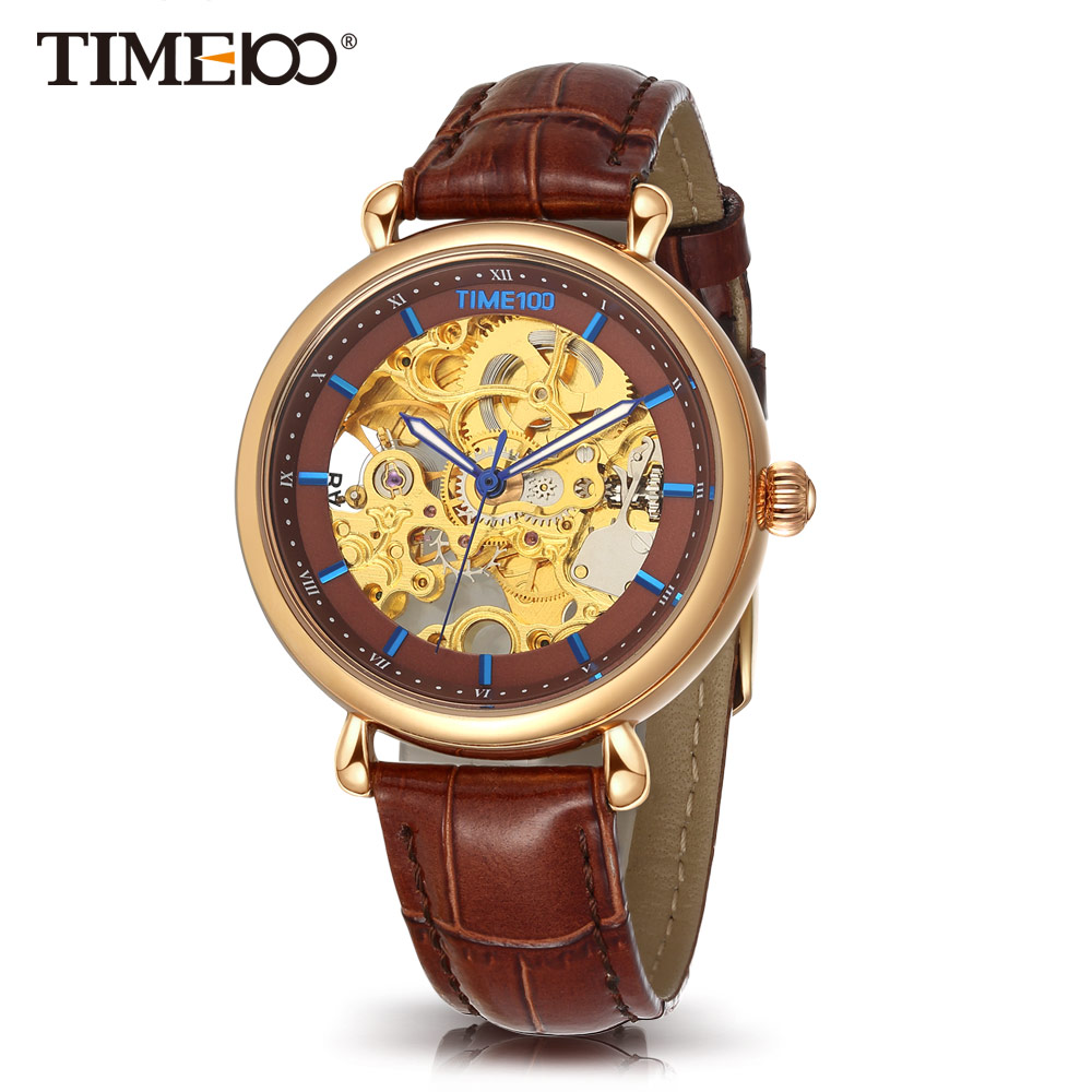 где купить TIME100 Women Mechanical Skeleton Watches Hollow Out Automatic Self-wind Brown Black Genuine Leather Watch women Casual Watches по лучшей цене
