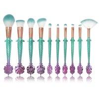 Professional Makeup Brushes Set Fashion Colorful Fish Tail Eye Shadow Eyebrow Lip Brush Kit Tools 10Pcs
