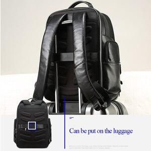 Image 5 - BOPAI جلد طبيعي على ظهره متعددة الوظائف USB تهمة مكافحة سرقة حقيبة لابتوب 15.6 بوصة رجل محمول على ظهره حقيبة السفر