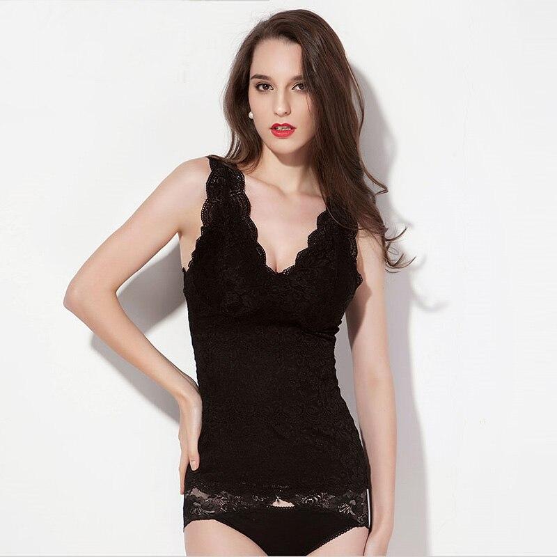REAL SILK women Lace Bustiers slimming underwear Vest cincher bustier new waist corsets butt lifter Black