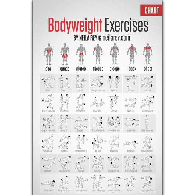 FX756 Hot New Free Bodyweight Workout Fitness Muscle Home Exercise Pose  Chart Poster Art Silk Canvas Home Room Wall Print Decor