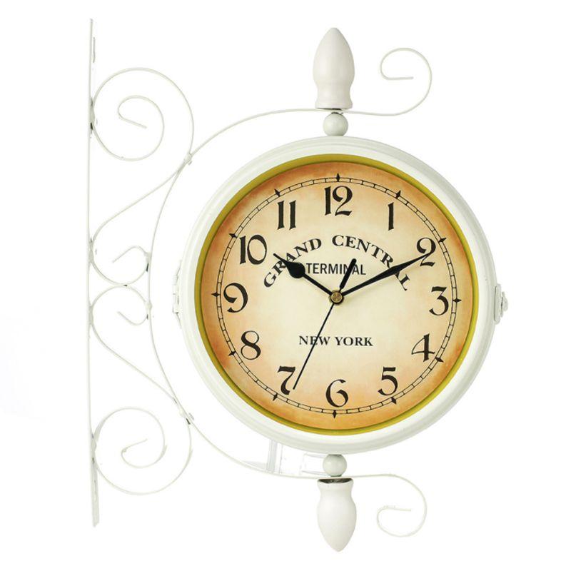 Horloge murale classique de style européen Double face Vintage rétro décor de bureau à la maison